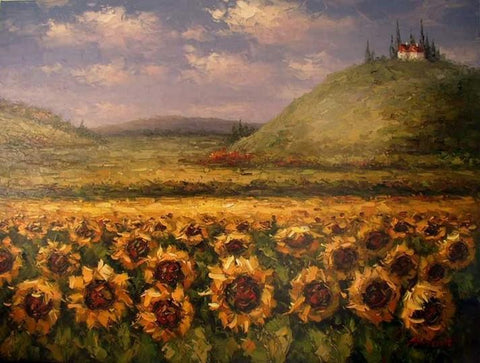 Canvas Art, Sunflower Painting, Large Art, Flower Field, Wall Art, Landscape Painting, Kithchen Wall Art, Large Canvas Art, Oil Painting, Canvas Wall Art-ArtWorkCrafts.com