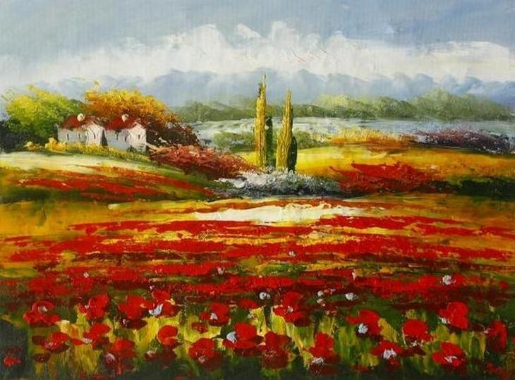 Large Art, Canvas Art, Red Poppy Field, Flower Field, Wall Art, Landscape Painting, Living Room Wall Art, Cypress Tree, Oil Painting, Canvas Wall Art-ArtWorkCrafts.com