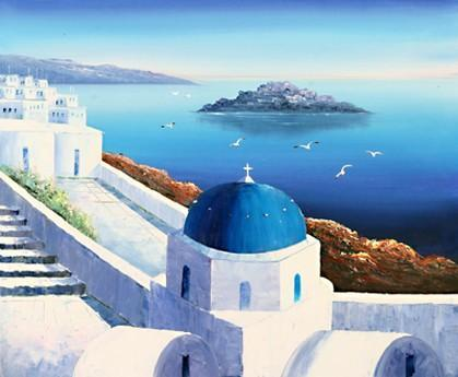 Landscape Painting, Summer Resort Painting, Mediterranean Sea Painting, Kitchen Wall Art, Oil Painting, Canvas Art, Seascape, Greece Summer Resort-ArtWorkCrafts.com
