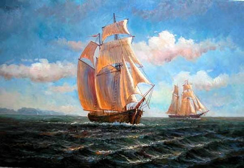 Seascape Painting, Canvas Painting, Wall Art, Oil Painting, Canvas Art, Large Painting, Dining Room Wall Art, Canvas Oil Painting, Canvas Art, Sailing Boat at Sea-ArtWorkCrafts.com
