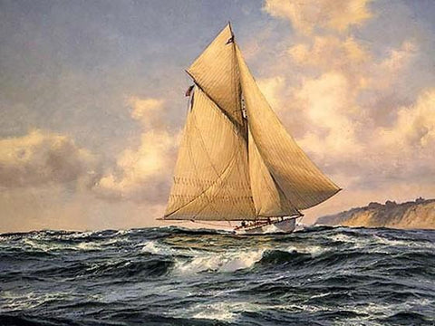 Seascape Painting, Wall Art, Oil Painting, Canvas Art, Canvas Painting, Large Painting, Dining Room Wall Art, Canvas Oil Painting, Canvas Art, Sailing Boat at Sea-ArtWorkCrafts.com