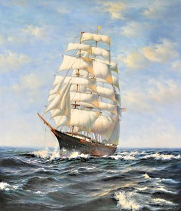Wall Art, Seascape Oil Painting, Canvas Art Painting, Canvas Art, Sailing Boat at Sea, Canvas Art, Canvas Painting, Oil Painting, Large Painting, Dining Room Wall Art-ArtWorkCrafts.com
