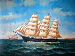 Living Room Wall Art, Canvas Art, Canvas Painting, Oil Painting, Seascape Painting, Wall Art, Large Painting, Canvas Oil Painting, Canvas Art, Sailing Boat at Sea-ArtWorkCrafts.com