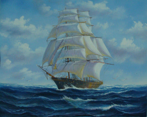 Seascape Painting, Canvas Oil Painting, Sailing Boat at Sea, Canvas Art, Canvas Painting, Oil Painting, Bedroom Room Wall Art-ArtWorkCrafts.com