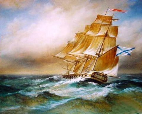 Big Ship, Oil Painting, Canvas Art, Canvas Painting, Seascape Painting, Wall Art, Large Painting, Dining Room Wall Art, Canvas Oil Painting, Canvas Art, Boat at Sea-ArtWorkCrafts.com