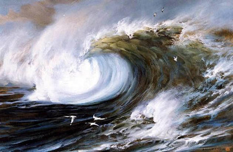pacific Ocean, Big Wave, Seascape Art, Hand Painted Art, Canvas Art, Canvas Painting, Large Wall Art, Large Painting, Canvas Oil Painting, Canvas Wall Art-ArtWorkCrafts.com