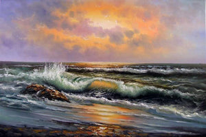 Seascape Art, Hand Painted Art, Canvas Art, Pacific Ocean, Sunrise Painting, Big Wave, Oil Painting on Canvas-ArtWorkCrafts.com