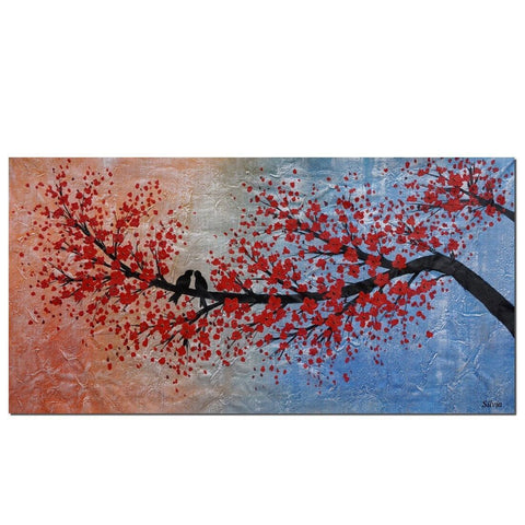 Abstract Art, Modern Art, Love Birds Painting, Art for Sale, Bedroom Wall Art, Canvas Art, Wedding Gift-ArtWorkCrafts.com