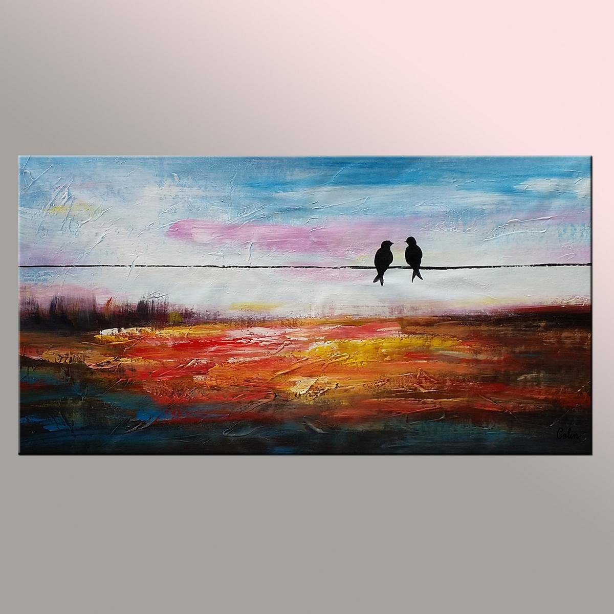 Contemporary Abstract Artwork, Wall Art, Modern Art, Love Birds Painting, Painting for Sale, Abstract Art Painting-ArtWorkCrafts.com