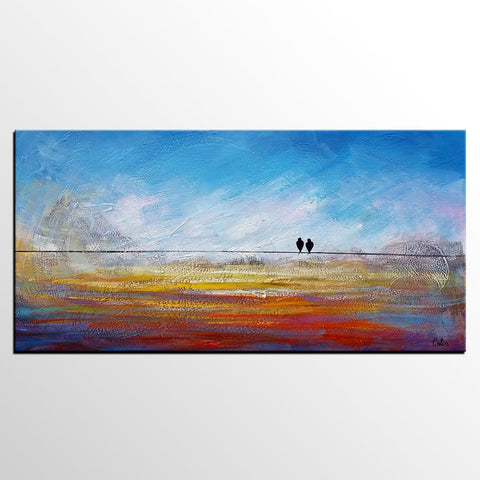 Modern Art, Abstract Art, Contemporary Wall Art, Love Birds Painting, Painting for Sale, Abstract Art Painting, Canvas Art-ArtWorkCrafts.com