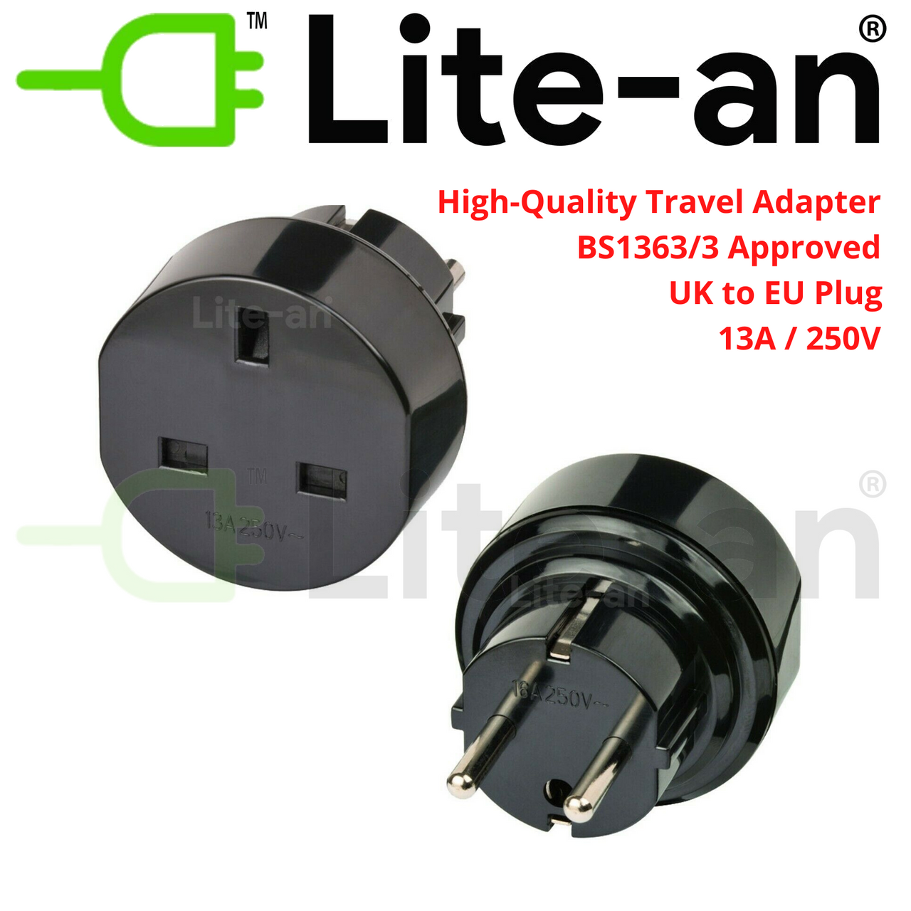 Lite-an UK to EU 3 Pin To 2 Pin AC Travel Power Adapter Plug Socket Converter
