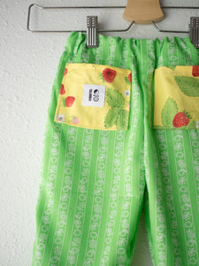 (SIZE 2) - Reworked Vintage Fabric Pants, Green Strawberries - TCP Mini