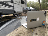 Venture Wipes sticker on Macbook with RV in background