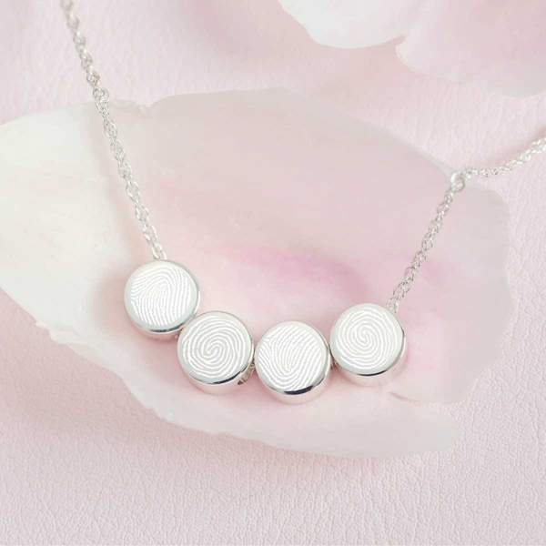Family Necklace, Four Fingerprint Charms