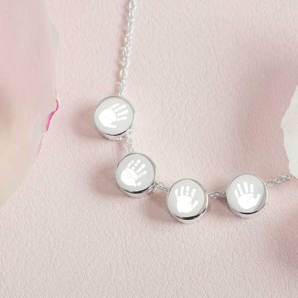 Family Necklace, Four Handprint or Footprint Charms