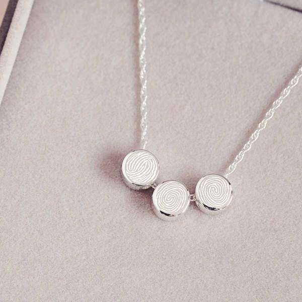 Family Necklace, Three Fingerprint Charms
