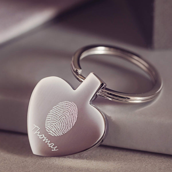 Heart Fingerprint Keyring
