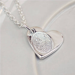 Fingerprint Small Heart Necklace, One Print