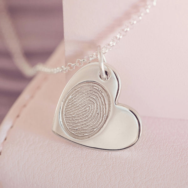 Fingerprint Large Heart Necklace, One Print