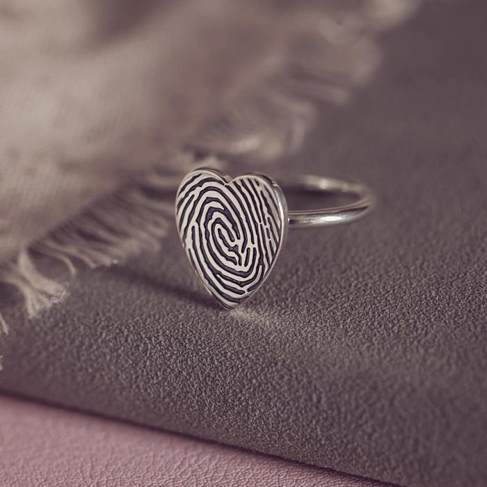 Fingerprint Heart Ring, One Print