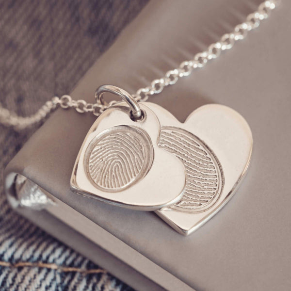 Fingerprint Descending Heart Necklace, Two Prints