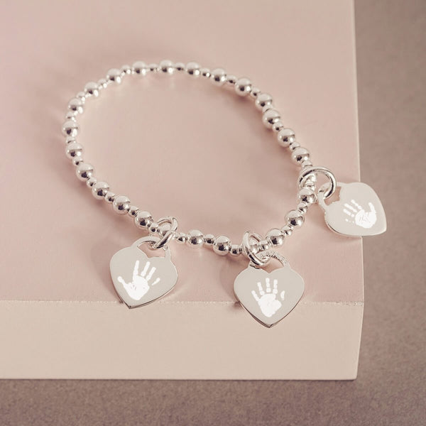 Handprint Or Footprint Silver Bead Bracelet, Three Charms