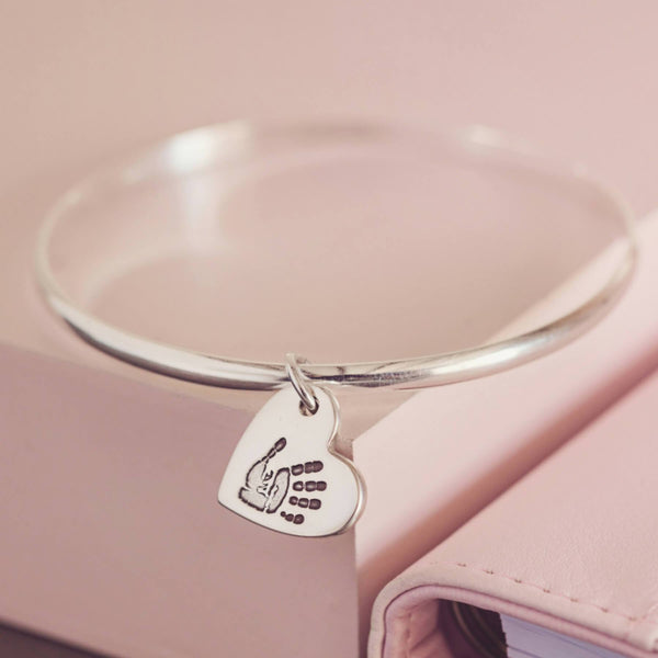 Footprint Charm Bangle
