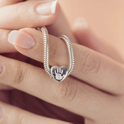 Handprint Heart Charm Bead