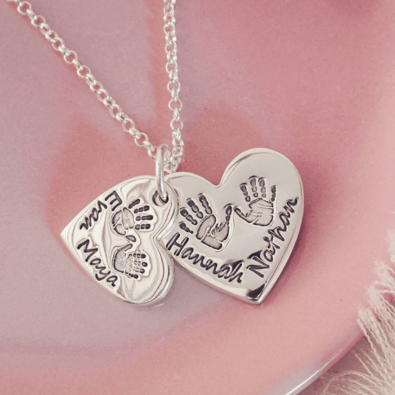 Handprint or Footprint Descending Heart Necklace, Four Prints And Four Names