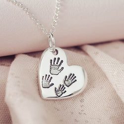 Handprint Or Footprint Large Heart Necklace
