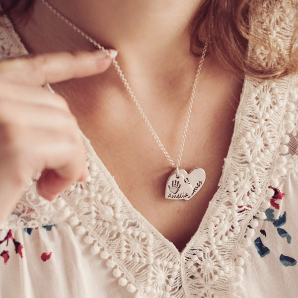 Handprint or Footprint Descending Heart Necklace, Two Prints And Two Names
