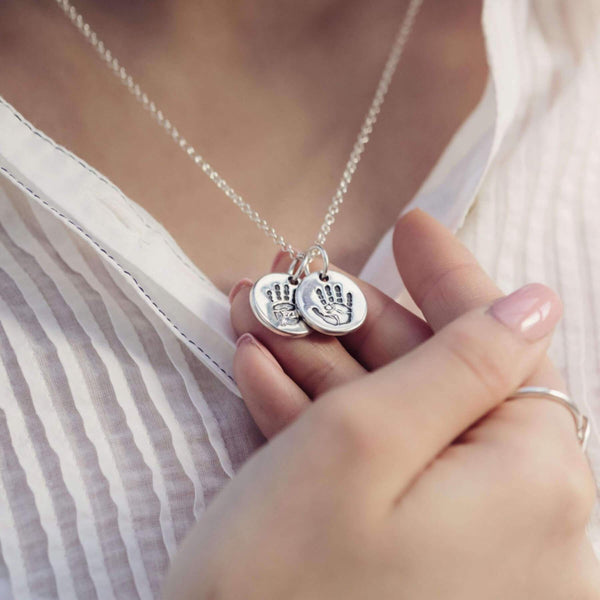 Handprint Or Footprint Round Charm Necklace, Two Charms