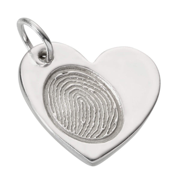 Fingerprint Large Heart Charm