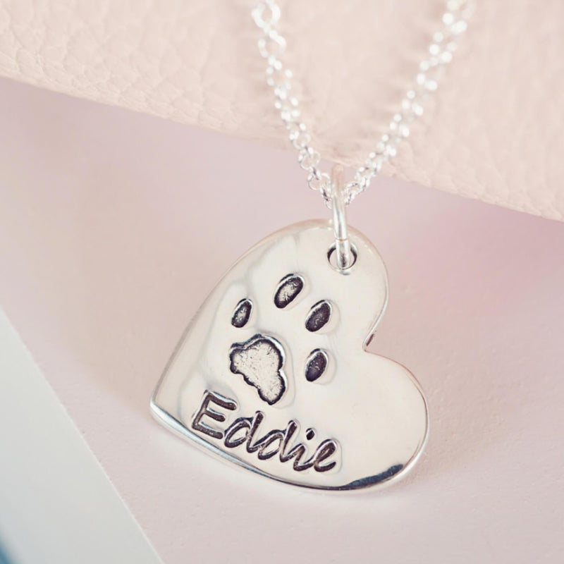 Large Pawprint Heart Necklace