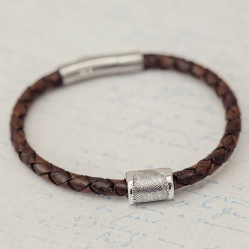 Memorial Fingerprint Leather Bracelet