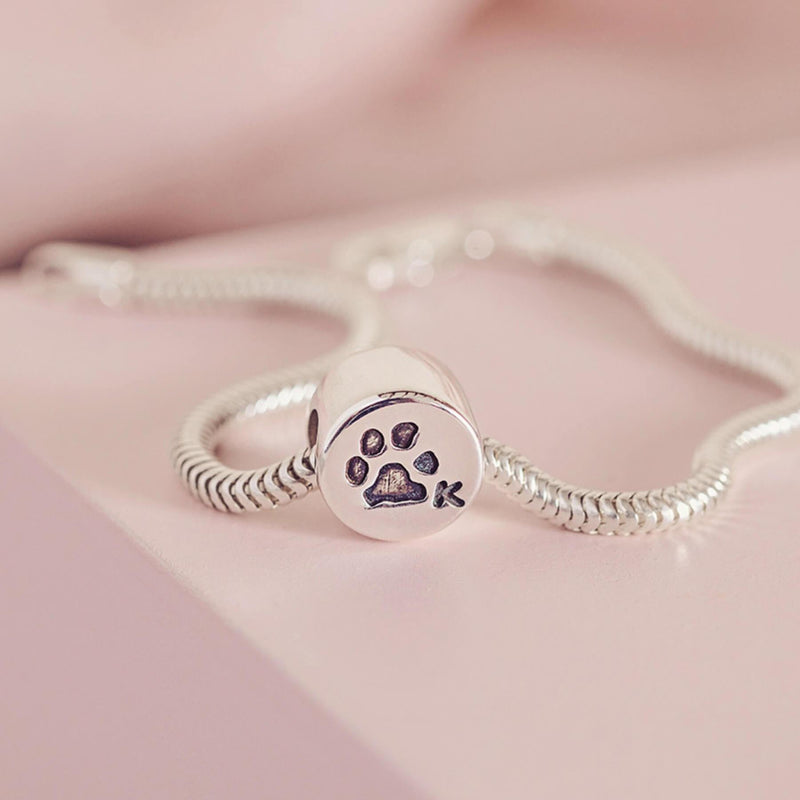 Pawprint Round Charm Bead, Two Prints