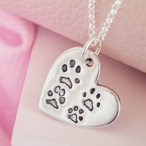Large Heart Pawprint Heart Necklace with four pets paws