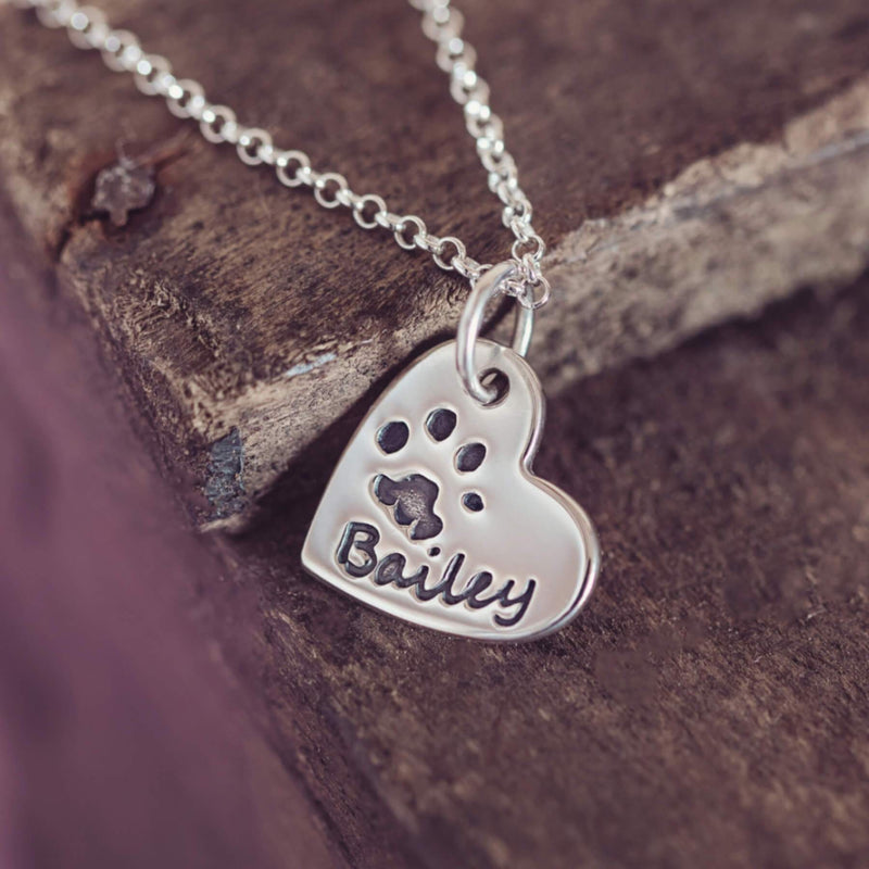 Pawprint Small Heart Necklace, One Print And Name