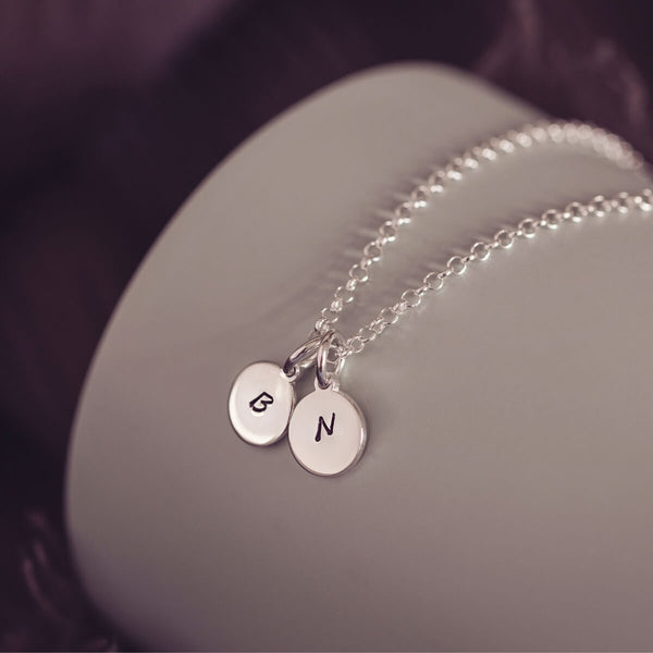 Silver Initial Charm Necklace, Two Charms