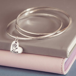 Handprint Or Footprint Russian Bangle, One Charm