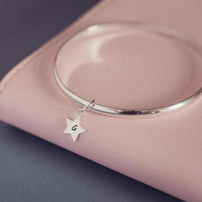 Personalized Silver Star Initial Bangle, One Charm
