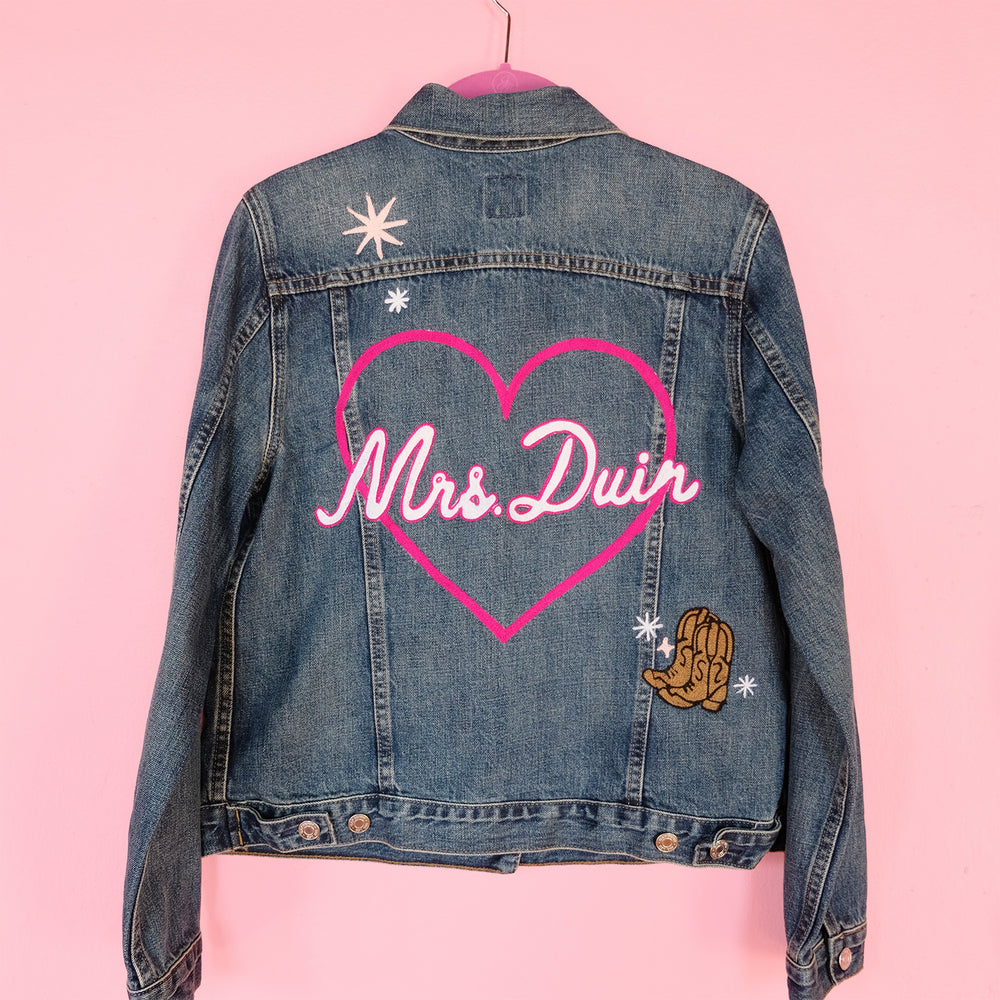 Custom Mrs Denim Jacket Wedding Custom Chainstitch Embroidery Embroidered Daily Disco Jacket
