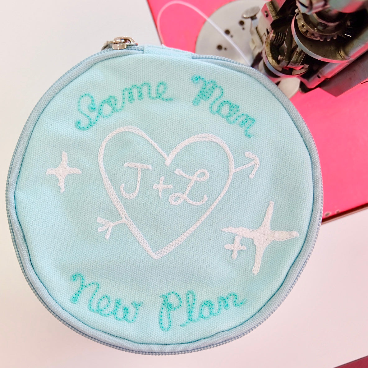 Personalized Round Jewelry Pouch