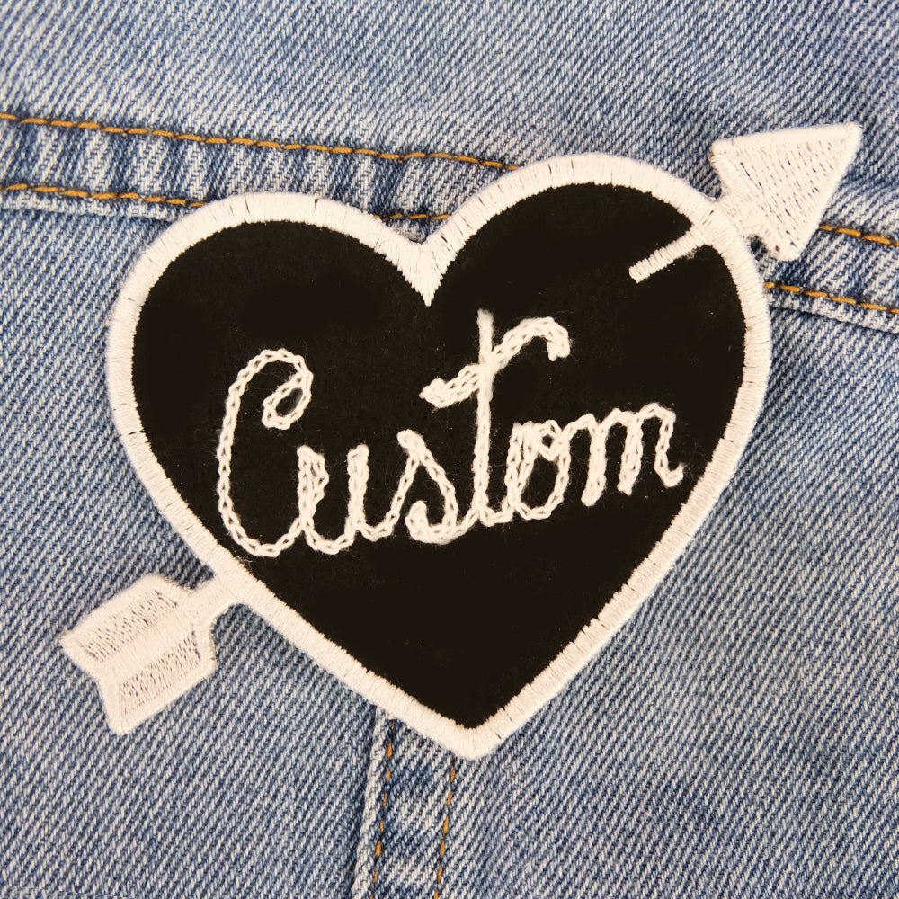 Custom Black Heart Patch Personalized - Daily Disco