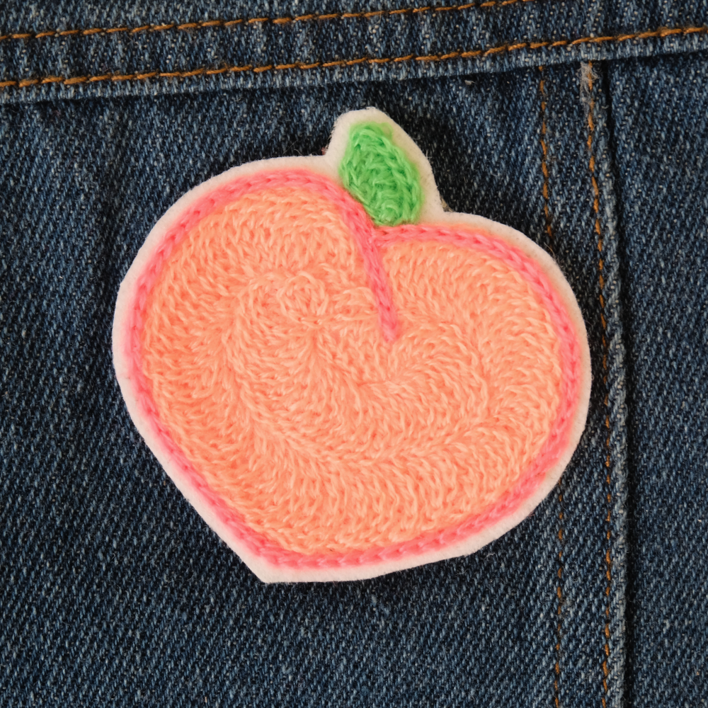 Peach Chainstitch Embroidered Patch - Daily Disco