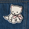 Kitten with Bow Chainstitch Embroidered Patch - Daily Disco