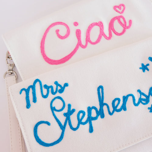 Personalized White Clutch - Daily Disco