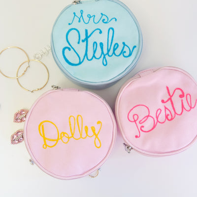 Personalized Round Jewelry Pouch - Daily Disco
