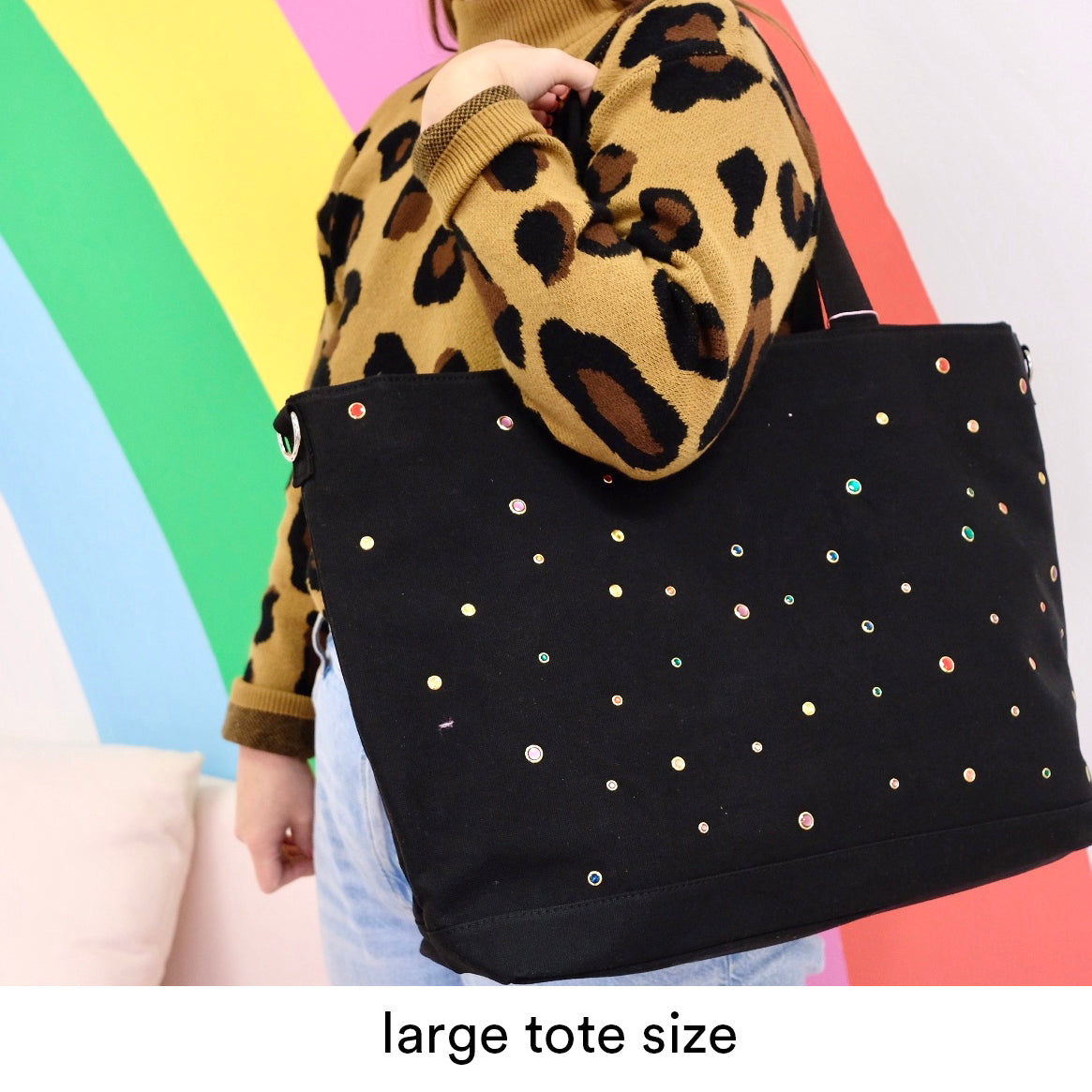 Small Black Rhinestone Personalized Tote Bag