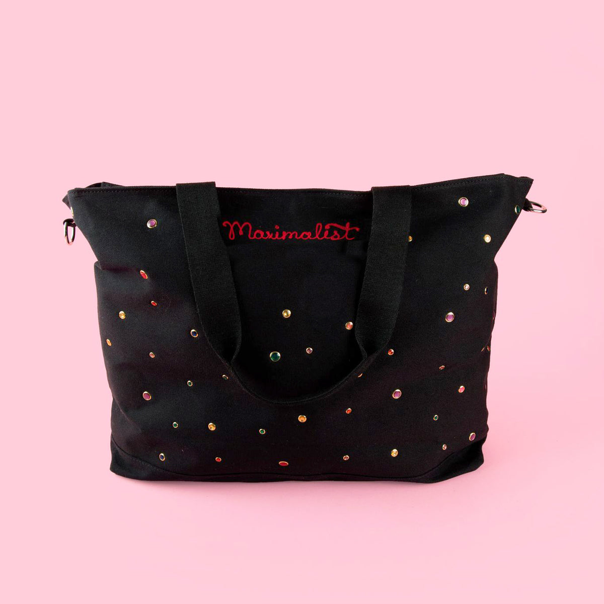 Large Black Rhinestone Personalized Tote